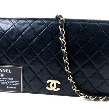 Authentic CHANEL Matelasse Quilted Chain Shoulder Bag LAMBSKIN Vintage r637