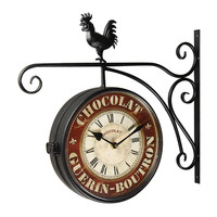 "Adeco Black Iron Vintage-Inspired Round ""Chocolat"" Double-Sided Wall Hanging Clock with Scroll Wall Mount and Rooster Detail Home Decor"
