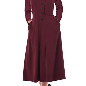 Purplish Red Side Button Mandarin Collar Long Sleeve A-line Midi Dress