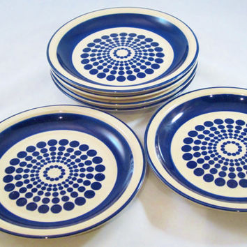 Vintage Plates OP ART Blue Japan 1980s Set of 6