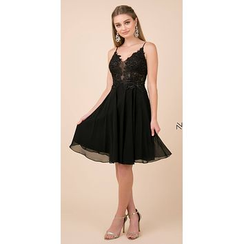 Knee Length Black Homecoming Dress Flowy Chiffon