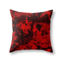 Red Marble Pillow Cover, Dark Galaxy Printed Throw Pillow Case for Living Room and Home Decor