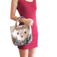 Small Hedgehog Face Print Fabric Lunch Tote Bag | DOTOLY