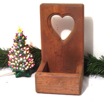 Rustic, Wood, Mail, Letter, Key, Heart, Shape, Wall, Box, Kitchen, Accessory, Bill, Organizer, Farmhouse, Chic, His & Her, Gift, Desk, Decor