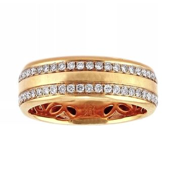 0.78ct Round Diamonds in 18K Rose Gold Half Eternity Wedding Band - Size 10