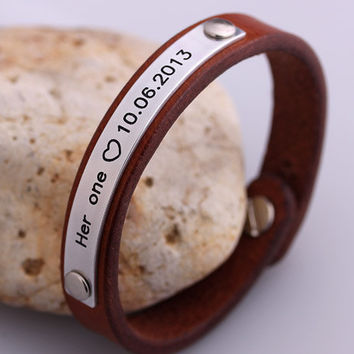 Customized Leather Bracelets -  His Hers Bracelet - Friendship, Wedding, Valentines, Anniversary Gift