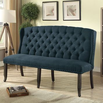 Tufted High Back 3-Seater Love Seat Bench With Nailhead Trims, Blue