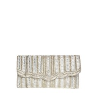 New Look Embellished Diamond Stripe Clutch