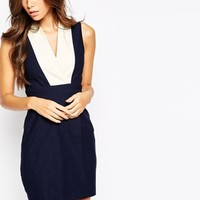Vesper Plunge Neck Nautical Dress