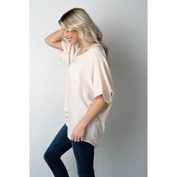 Taupe Striped Boxy Front Pocket Top