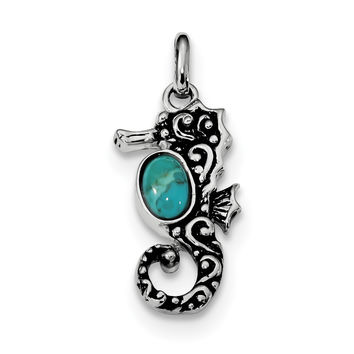 Sterling Silver Rhodium/Oxidized Recon. Turquoise Seahorse Pendant QC9272