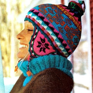 Vintage Knitting Pattern Ear Flap Ski Cap Hat Peruvian Design Helmet Crochet hat pattern PDF Instant Download knitting crochet pattern vtg