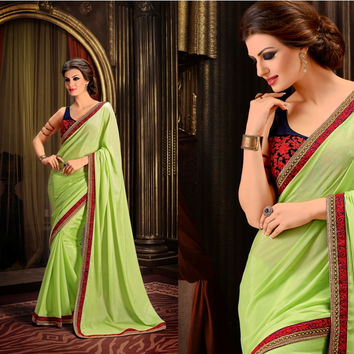 S9101 Designer Green Blue Georgette Velvet Net Saree