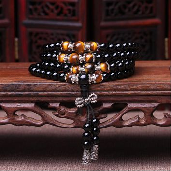 men's Fashion bracelet 108 Beads Natural Crystal Bracelet obsidian Beads Multi-layer Rosary Mala Bracelets Free Shipping
