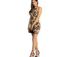 Taupe Black Flower Mock Dress