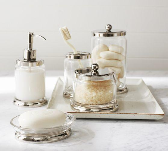 Holden bath accessories from pottery barn apartment for Cream bathroom accessories