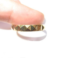 Unisex Shiny Pyramid Ring 14k Yellow Gold Plated by SEDESU on Etsy