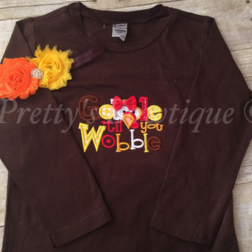 Thanksgiving gobble til you wobble babies, toddler, and children t shirt or bodysuit with headband Gobble 'til you wobble