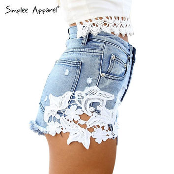 Simplee Apparel 2016 ripped pocket women shorts Summer casual denim shorts vintage hot shorts denim shorts for women