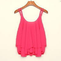 Beach Summer Stylish Bralette Hot Comfortable Hot Sale Women's Fashion Double-layered Sleeveless Spaghetti Strap Tops Sexy Chiffon Vest [4920347204]