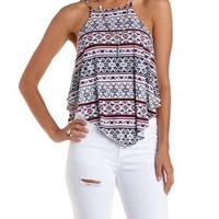 White Combo Racer Front Printed Swing Crop Top by Charlotte Russe