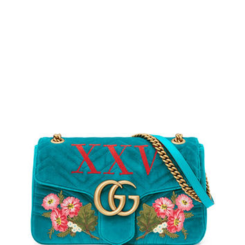 Gucci 110th Anniversary GG Marmont Small XXV Velvet Shoulder Bag