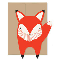 Fox Die Cut Flat Notecard