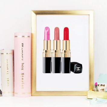 CHANEL BATHROOM PRINT,Makeup Art,Coco Chanel Lipstick,Makeup Fashion print,Coco Chanel Print,Fashionista,Gift For Her,Gift For Birthday