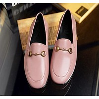 GUCCI Woman Moccasin-Gommino Fashion Leather Flats Shoes