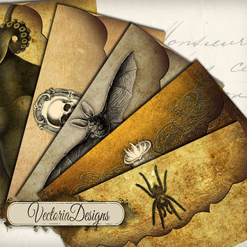 INSTANT DOWNLOAD Halloween Envelopes instant download printable digital collage sheet 171