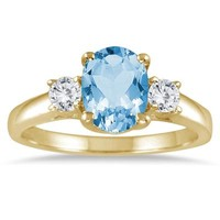 1.75 Carat Blue Topaz and Diamond Three Stone Ring 14K Yellow Gold
