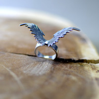 sterling silver ring Eagle wings , wings ring