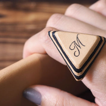 Initial Leather Ring - Personalized Name Leather Ring, Handmade Triangle Hand Stamped,  Adjustable, Acronym, Custom initial, monogram #Black