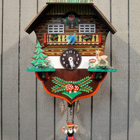 Vintage Black Forest Cuckoo Clock with Swinging Girl Pendulum