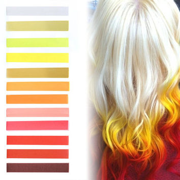 FLAMING HOT | White, Yellow, Golden, Orange & Shades of Red Pastel Fire Ombre Hair Chalk temporary hair color set of 12