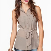 A'GACI Sleeveless Contrast Belted Chiffon Tunic - TOPS