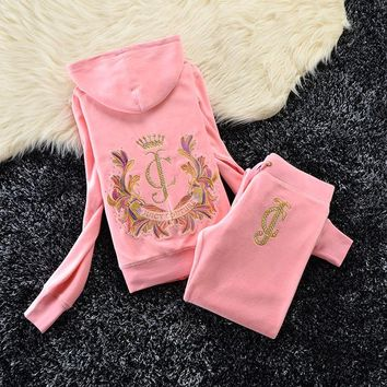 Juicy Couture Studded Jc Crown Velour Tracksuit 6020 2pcs Women Suits Pink