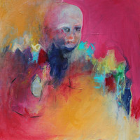 """Abstract Portrait Painting Acrylic Painting """"Contemplating"""""""