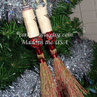 Wine Cork bottle tag, ornament,  set of two, sage and red tassel ornaments