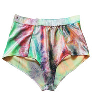 Shimmer Tie Dye High Waisted Velvet Shorts