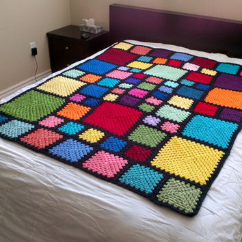 Twin Sized Rainbow Squares Crochet Bedspread granny square stained glass blanket rainbow afghan adult twin sized