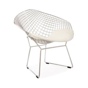 A Black Or Chrome Diamond Retro Modern Mesh Chair