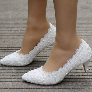 small heel white lace wedding shoes 5cm high heels shoes white lace pink lace sweet pumps princess party heels 2017 elegant shoe