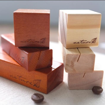 3pcs/lot Retro wooden Message holder Note card message Holders Desk Accessories Office School Supplies Korea stationery 1639