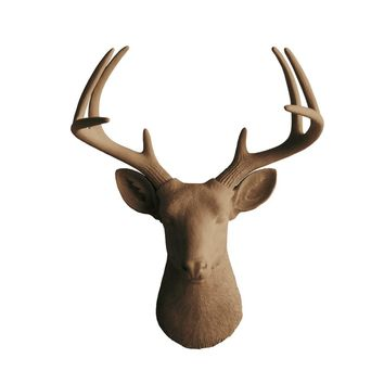 The Virginia | Large Deer Head | Faux Taxidermy | Chocolate Brown Resin