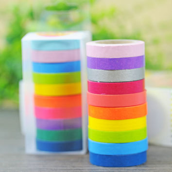 10 pcs/lot DIY Kawaii Washi Tape Candy Color Masking Decorative Tape for Home Decoration Supplies Gift Free shipping 136