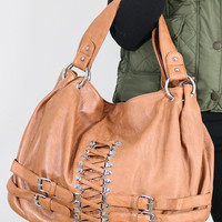 Making Memories Camel Handbag With Buckle Details
