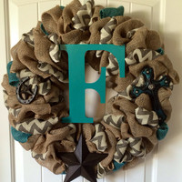 The Lord is my light wreath - Burlap wreath - mixed burlap wreath - Chevron burlap - Texas wreath - Western decor - Cross wreath