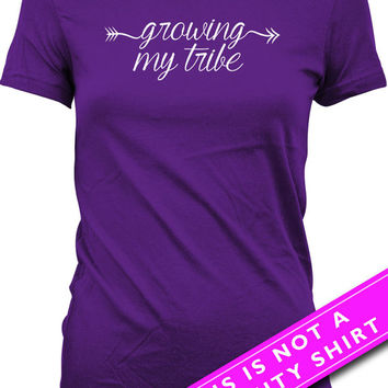 Funny Pregnancy Shirt Pregnancy Reveal Gifts For Expecting Mothers Growing My Tribe Maternity Clothes Mother To Be Ladies Tee MAT-558