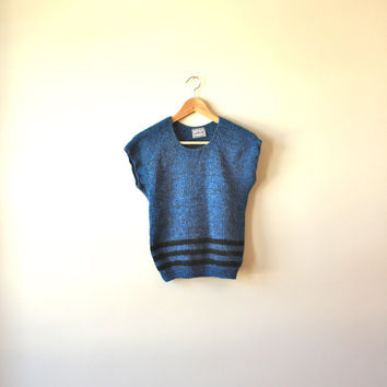 Sparkly Blue Stripe Knit Sweater Vest Womens